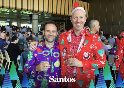Guests in purple and red novelty Christmas pyjamas